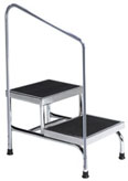 Medical Step Stool with handrail and 600 lb. weight capacity